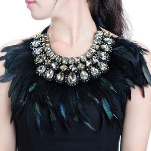 Glass Crystal Feather Tear Drop Chunky Necklace